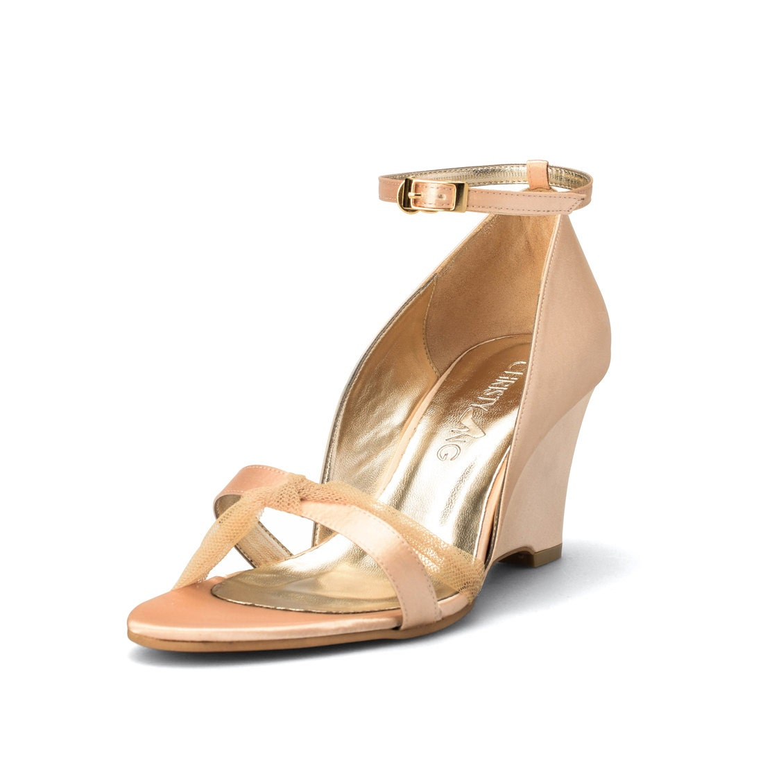 aurelia gold satin wedge gold bridal shoe wedding shoes