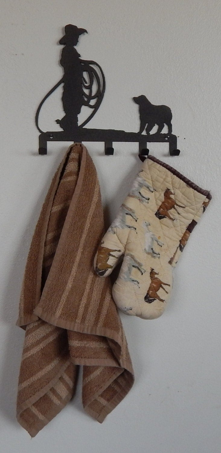 Western Decor Wall Hooks : Key holder roper and dog wall hook buckaroo levi