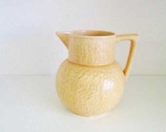Vintage Pottery Jug Vase Pitcher Art Deco Kensington Ware, Made in England Beige Sand Circa 1930s