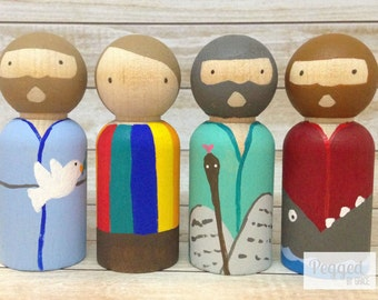 Old Testament Heroes Peg Dolls - Noah, Moses, Joseph, and Jonah