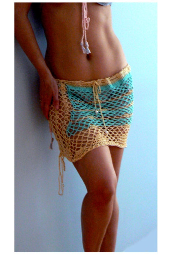 Mermaid aqua crochet coverup skirt. Fishnet bikini skirt. Sexy handmade crochet bikini cover. Boho blue mesh skirt. Shells mesh swim coverup