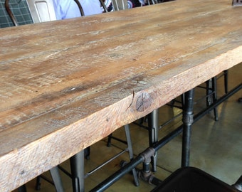 Dining Table Metal And Reclaimed Wood Conference Table Modern Industrial 12  Foot Table Pipe Legs