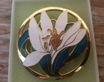 Large white enamel flower brooch