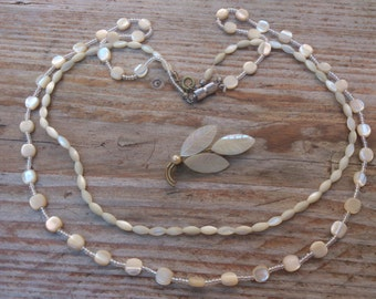 Vintage mother of pearl brooch and two necklaces