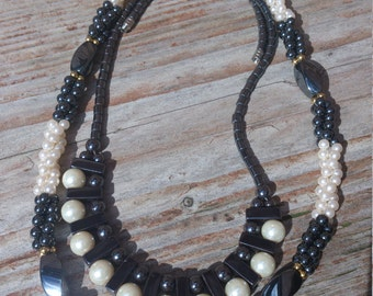 Two vintage hematite and pearl bead necklaces