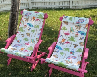 Rocking OOAK Vintage Upcycled Flamingo Hot Pink folding/rocking/pool/deck/glamping/camping chairs