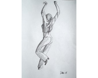 Original Drawing of Woman Dancing Flamenco, Pencil Drawing, Spanish Dancer, Dancing Art