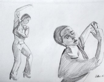Original Drawing of Flamenco Dancer IV, Women Dancing, Pencil Drawing, Spanish Dance