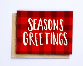 Seasons Greetings or Happy Holidays Greeting Card   Christmas Card   Holiday Card   Hand Lettered Card   Plaid Card