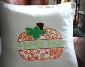Happy Fall Pumpkin Pillow-16x16 Pumpkin Pillow cover-Front Porch Decor-Autumn,Fall,Thanksgiving,Harvest-Housewarming Gift