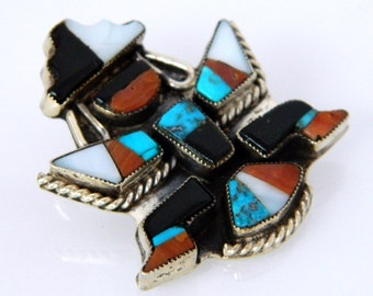 Native American Zuni Vintage Turquoise Apple Coral Jet MOP Inlay Sterling Knifewing Pin 1960s SALE!