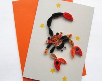 Scorpio card, Zodiac card, Blank birthday card, Astrology card, Scorpio gift, Sign Card