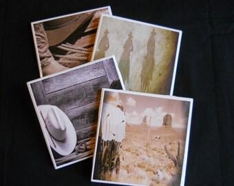 Western Coasters ~ Western Decor ~ Ceramic Tile Coasters ~ Cowboy Decor ~ Western Theme ~ Cowboy Coasters ~ Country Rustic Decor ~ Cowboys