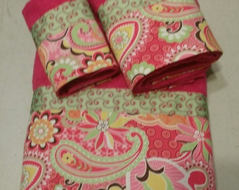 Hot Pink and Mint Paisley and Floral Bath Towel Set (Ready To Ship)