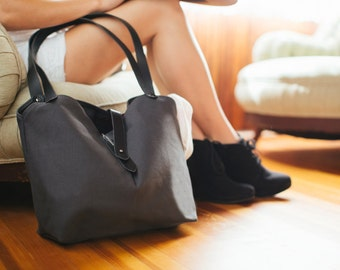 Leather and Canvas Tote with Pen Slot