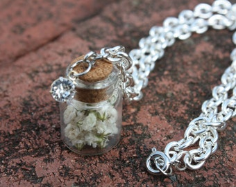 Jar of Baby's Breath and Swarovski Crystal Necklace