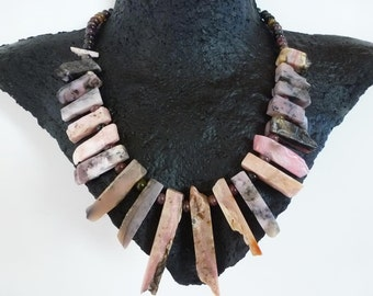 Sticks 'N Stones Necklace - gorgeous pink Peruvian opal sticks, spiky and organic with smooth tourmaline stones, clasped in oxidized silver.