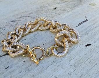 Gold bracelet, gold chain link bracelet, gold toggle bracelet