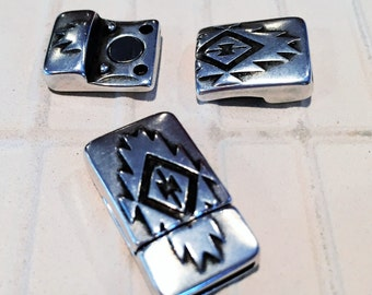 10mm Flat Magnetic Clasp, Geometric Print, 10mm Flat Leather Finding,