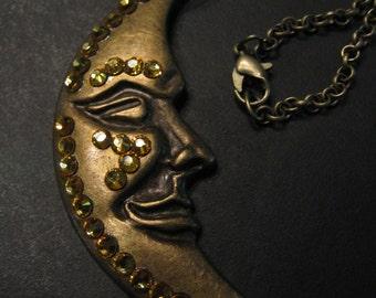 SPIRITUAL HALF MOON Pendant-Sunflower Swarovski Crystals-Choose Cord or Chain