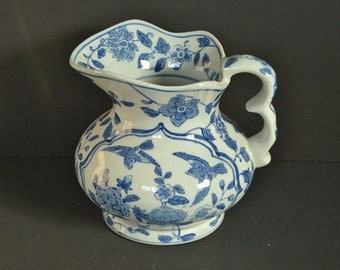 Vintage Andrea by Sadek Ceramics Blue and White Pitcher