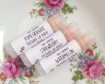 Pink Shimmer Beeswax Lip Balm - Choose Your Flavor Pomegranate Strawberry Watermelon - One Tube