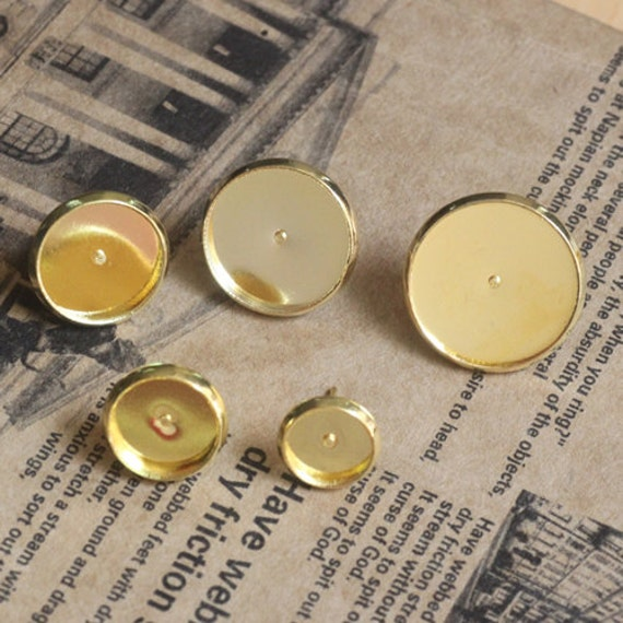 50pcs Brass Gold Post Earring Setting 8mm/ 10mm/ 12mm/ 14mm/16mm Round Bezel Cup Cabochon Mountings AL05376