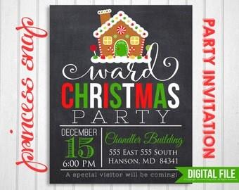 Ward Christmas Party Invitation, Printable Christmas Invitation,  5x7 or 4x6, Ward Party Invitation, DIY Holiday Printable Invitation