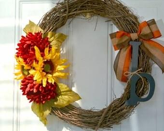 Monogram Fall Front Door Wreath | Red and Yellow Floral Arrangement