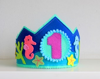 Under the sea Birthday crown Nautical themed birthday party hat birthday headband first birthday personalized Felt Crown adjustable crown
