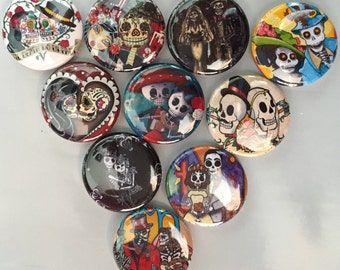 Day of the Dead, Sugar Skull flatback buttons, crafts, bottlecaps, scrapbooking