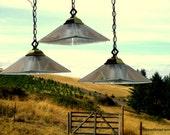 Pendant Lights, Set of 3 Vintage Pyramid Shaped Pendant Lights,  Hanging Glass Lights