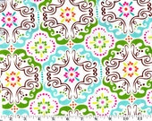 Songbird Fabric - Brother Sister Design Studio - Aqua, Green Magenta and Brown Design. 100% cotton B41-LNF-P17