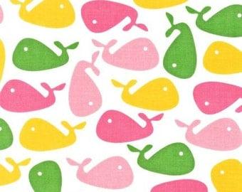 Whale Fabric - Pink Yellow & Green Whales - Urban Zoologie - Ann Kelle - Robert Kaufman.  AAK-10347-238 Garden
