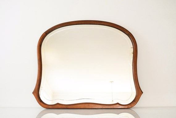 antique wood mirror, decorative wall mirror, wood frame mirror, large antique solid walnut mirror w/beautiful shape & decorative etched line