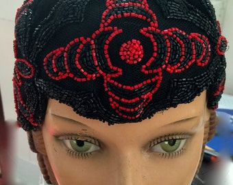 Flapper,roaring twenties hat,chapeau,beaded on velvet
