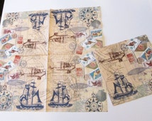 5 New German retro travel maps ephemera ships boats airplanes postage stamps seashells decoupage collage party napkins arts paper crafts lot
