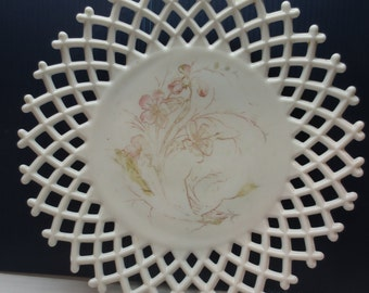 Challinor Taylor Antique Milk Glass Plate with Open Lattice and Handpainted