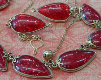 Vintage Lucite Red Confetti Necklace and Earrings Gold Tone