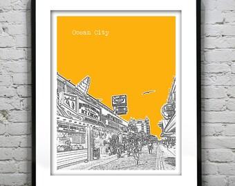 Ocean City Skyline Print Maryland MD Boardwalk Version 3
