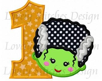 Frankenstein Bride Number 1 Applique Machine Embroidery Design NO:0349