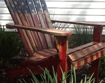 SOLD American Flag Adirondack Chair