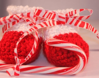 Peppermint Holiday Baby Booties - Crocheted Christmas Baby Booties - Red and White Baby Booties