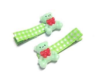 Green bear hair clips, bear hair accessory
