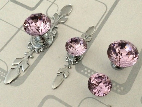 pink glass dresser knob pull crystal drawer knobs pulls handle. Black Bedroom Furniture Sets. Home Design Ideas
