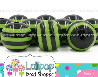 20mm GREEN & BLACK Striped Beads Chunky Necklace Beads Halloween Stripe Resin Beads Plastic Stripes Bubblegum Beads Bubble Gum Beads SRB54