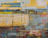 Abstract painting, brown, grey and yellow, modern, minimalist large canvas art 39.37/27.5(100/70cm). Free shipping. Port Z.