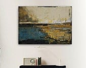 Abstract painting black and blue modern minimalist large canvas art 39.37/27.5(100/70cm). Free shipping. Black point.