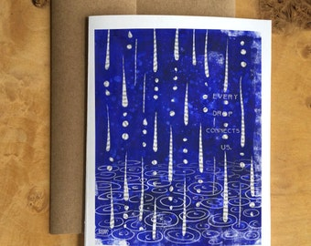 """Abstract Art Card - Blue Raindrops With Stamped Quote """"Every Drop Connects Us"""""""