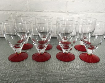 Reserved - Ruby Footed Ice Tea or Water Goblets